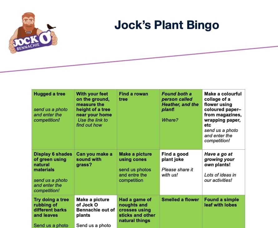 Jock's Plants Bingo